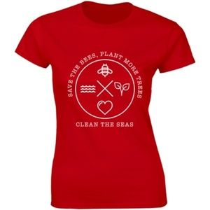Half It Tops - Save The Bees, Plant More Trees Clean Sea T-shirt